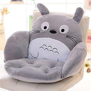 WJX&Likerr Cartoon One-Piece Seat Cushion, Office Chair Cushion Thick Waist Cushion Pillow Car Cushion Soft Plush Floor Cushion Pp Cotton-Totoro 55x35x35cm(22x14x14)