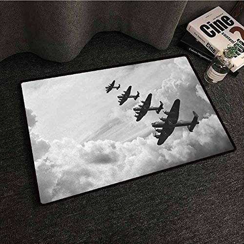 - DuckBaby Washable Doormat Airplane Retro Image of Lancaster Bomber Jets from Battle Royal Air Force in Clouds Plane Hard and wear Resistant W31 xL47