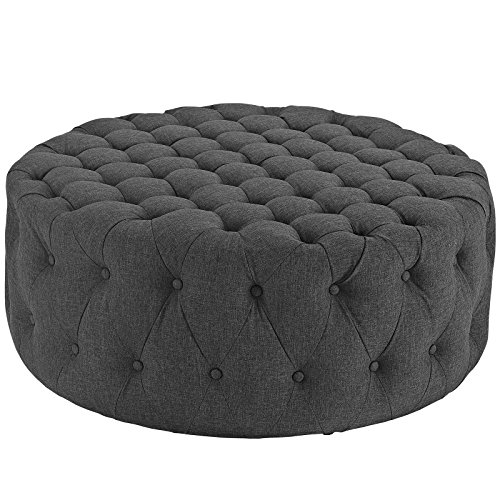(Modway Amour Fabric Upholstered Button-Tufted Round Ottoman in Gray)