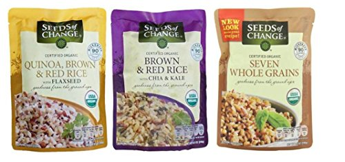 Seeds of Change Organic Heat & Eat Rice Side Dish 3 Flavor Variety Bundle: (1) Quinoa, Brown & Red Rice w/Flaxseed, (1) Brown & Red Rice w/Chia & Kale, and (1) Seven Whole Grains, 8.5 Oz Ea (3 Tot)