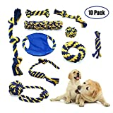Adorkable Pet Dog Chew Toy Package – Durable Cotton Rope Frisbee Knot Coil Pet Hanging Ball – Interactive Toys (10 Pack)