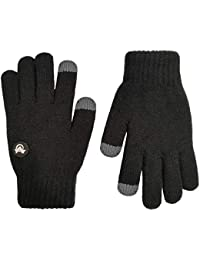 Kids Touchscreen Knit Gloves,Winter Solid Black Children Warm Thick Fleece Lining Gloves