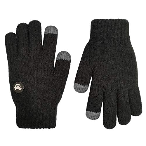 LETHMIK Kids Touchscreen Knit Gloves,Winter Solid Black Children Warm Thick Fleece Lining Gloves