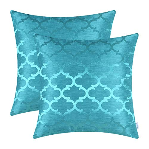 CaliTime Pack of 2 Cushion Covers Throw Pillow Cases Shells for Home Sofa Couch Modern Shining & Dull Contrast Quatrefoil Accent Geometric 20 X 20 Inches Lake Blue (Sale Cushions)