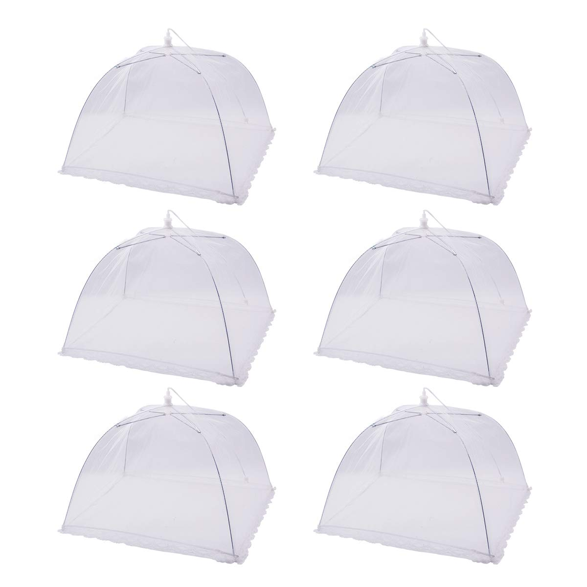 Pop-Up Mesh Food Covers Tent Umbrella For Outdoors Food Cover Net Keep Out Flies Bugs Mosquitoes Ideal for Parties Picnics BBQ Reusable And Collapsible 17 x 17 Inches(6 Pack)