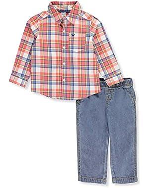 Baby Boys 2 Piece Plaid Button Front Denim Pants Set