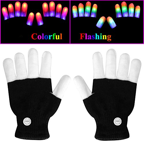 LED Gloves, eboozone Finger Lights Toys with Lights Rave Gloves For Party, Christmas Gift for Kids