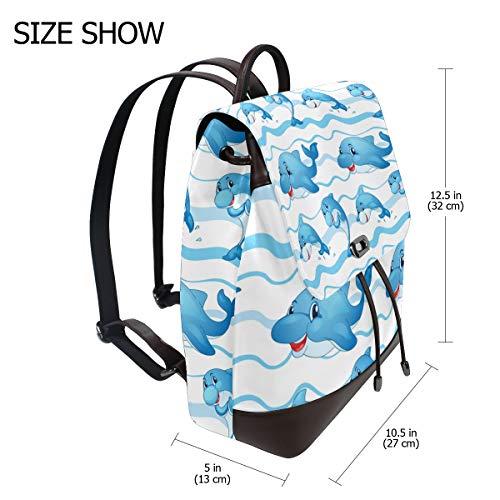 Kvinnor PU-läder delfin baby ryggsäck handväska resa skola axelväska ledig dagväska