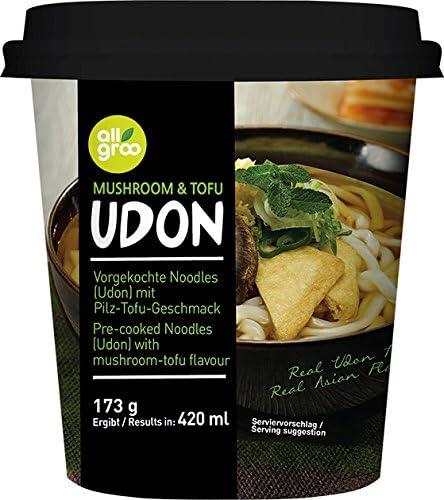 Allgroo Fideos Udon en Vaso, sabor Champiñones y Tofu 170 g
