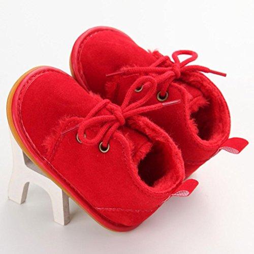Tefamore Zapatos Bebe Botas de Matin Caliente para Primeros caminantes Rojo