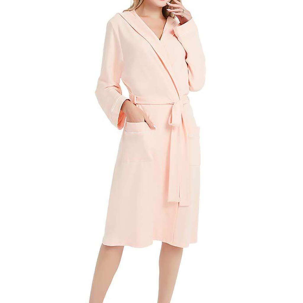 Whear Robe Womens Shawl Collar Hooded Bathrobe Sleepwear Plain Long Sleeve Loungewear Pajama Nightgown