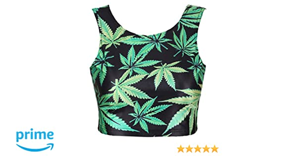 997b87863197fc NeonNation Neon Nation Green Marijuana 420 Weed Leaf Graphic Printed Crop  Tank Top at Amazon Women s Clothing store