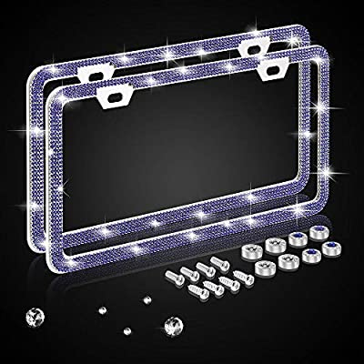 Nomiou Bling Narrow Blue License Plate Frame,Luxury Handmade Waterproof Glitter Rhinestone Crystal Premium Stainless Steel Licence Plate with Anti Theft Screw Caps for Front and Back License: Automotive