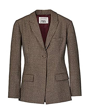 Zara Women Check Blazer 8336/700 (X-Small) Brown