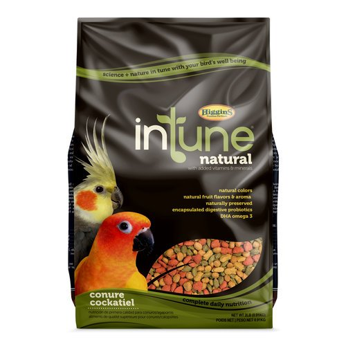 Higgins INTUNE NATURAL CONURE & COCKATIEL Bird Food 2. lb. Bag. with Added Vitamins and Minerals. Fast Delivery!!!