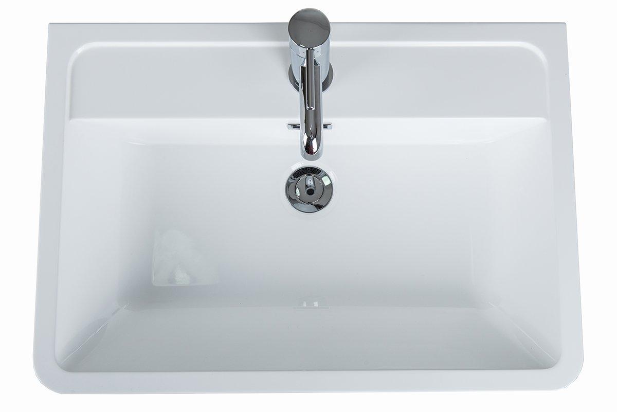 Aquariss 600 mm White Modern Bathroom Floorstanding Vanity Basin Sink Unit 2 Drawer