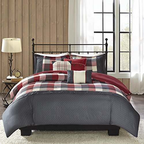 Madison Park Ridge Duvet Cover Full/Queen Size - Red, Plaid Duvet Cover Set - 6 Piece - Ultra Soft Microfiber Light Weight Bed Comforter Covers