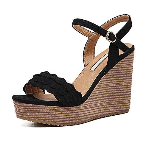 H&W Nubuck Cuero Cuña Sandalias Zapatos Plataforma Alto 3.5cm Tacon 10.5cm Negro