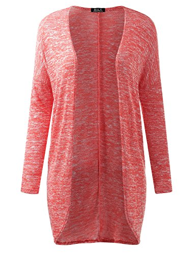 BILY Women's Drop Shoulder Open Front Long Knit Cardigan Coral Small