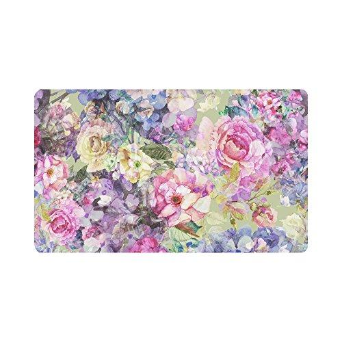 InterestPrint Bright Watercolor Hydrangea Rose Flowers Doormat Anti-Slip Entrance Mat Floor Rug Indoor/Outdoor/Front Door Mats Home Decor, Rubber Backing Large 30
