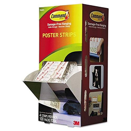 Command 17024CABPK Poster Strips, 5/8-Inch x 1.3/4-Inch, White, 100/Carton