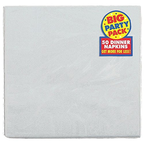 Amscan Silver 2-Ply Paper Dinner Napkin Big Party Pack, 50 Ct.]()