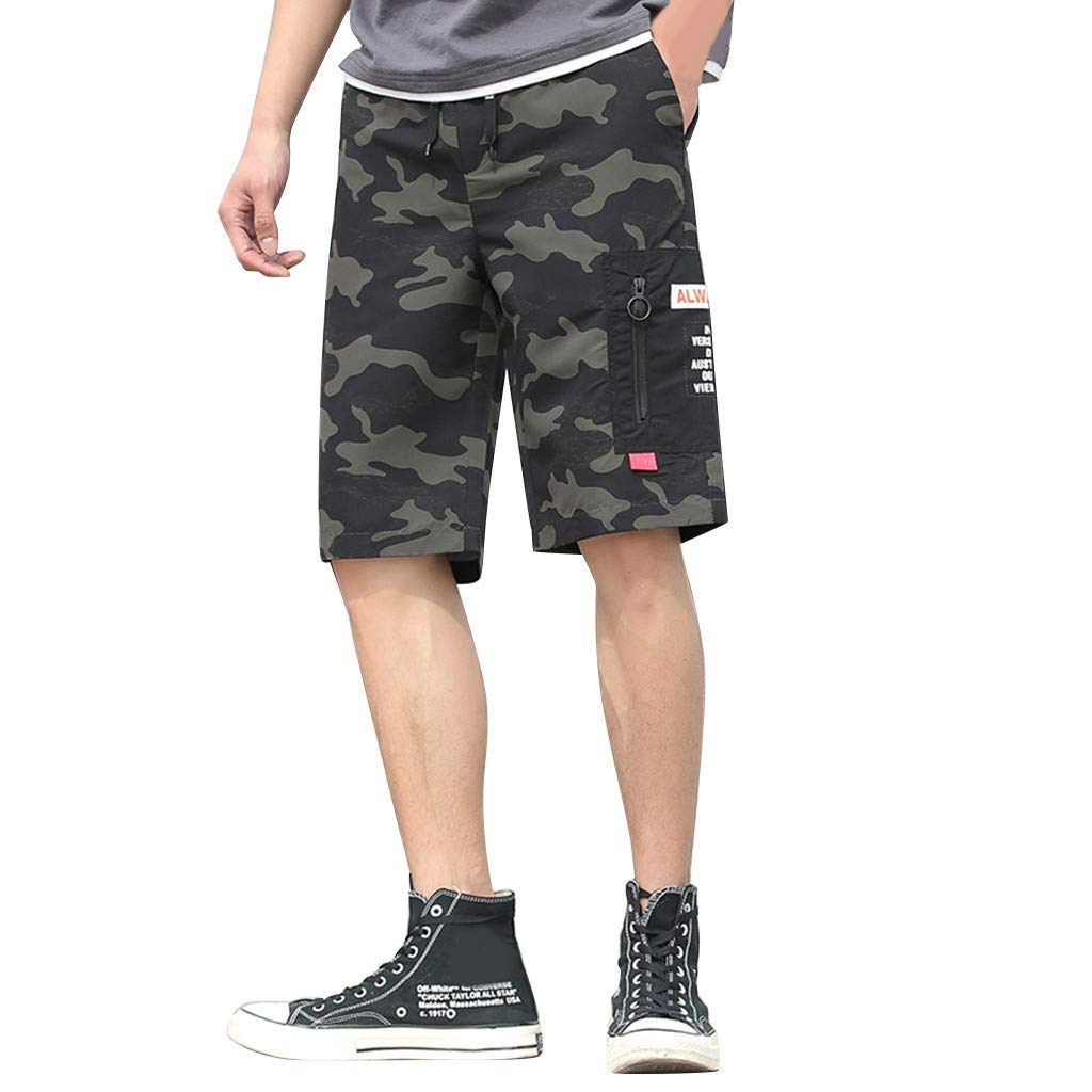 LONGDAY-Men Pants Trousers Camouflage Shorts Messenger Cargo Short Premium Relaxed Fashion Printing Elastic Waist