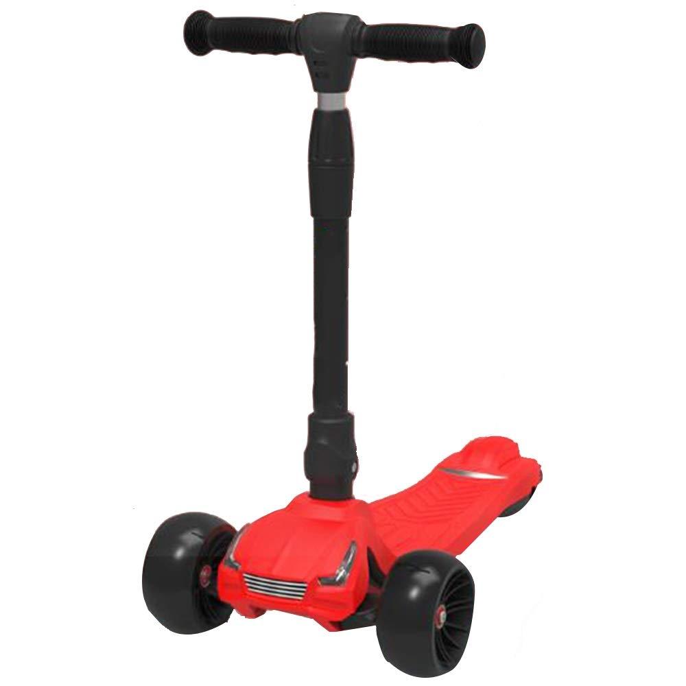 YUMEIGE Kickscooter Tretroller 3 Höhenverstellung Tretroller PU-Laufrad Sportroller für 2-15 jährige Kinder Tretlager 100 Kg Verfügbar rot