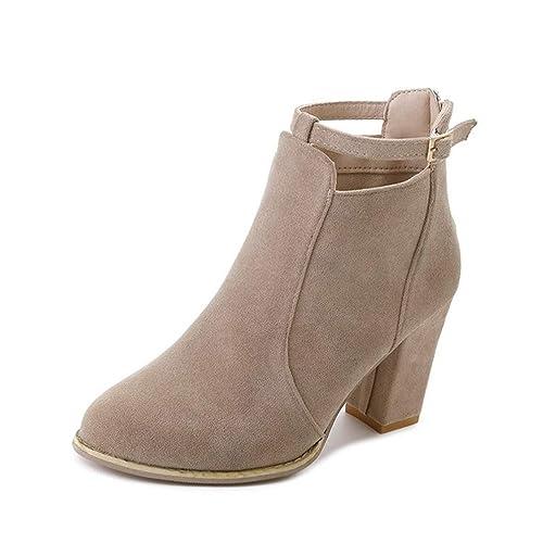Botas de Mujer Tacones Altos Botas Moda Correa Hebilla Botines Tacones Cuadrados: Amazon.es: Zapatos y complementos