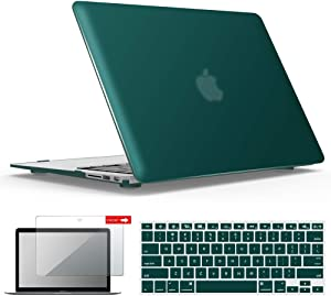 IBENZER Old Version MacBook Air 13 Inch Case (2010-2017 Release) (Models: A1466 / A1369), Plastic Hard Shell Case with Keyboard & Screen Cover for Apple Mac Air 13, Quezhal Green, A13QUGN+2
