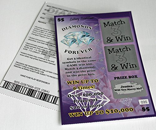 Customizable Lotto Replica Scratch Off Ticket Custom Prize Box Message (Purple Diamonds -