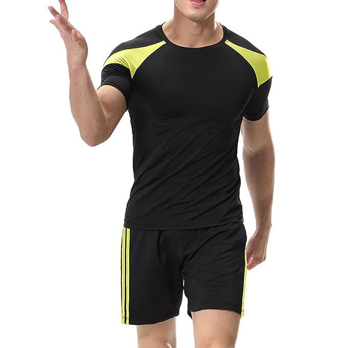 Celucke Herren Laufshirts + Laufshorts 2 Stücke Sport Anzug, Performance T-Shirt Kompressionsshirt Kompressionsshorts Trainin