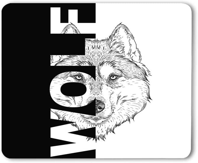 Moslion Wolf Mouse Pad Hand Drawn Portrait Tattoo Animal Cool Creative Sketch Art Gaming Mouse Mat Non-Slip Rubber Base Thick Mousepad for Laptop Computer PC 9.5x7.9 Inch