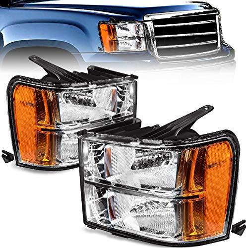(For 2007-2013 Sierra 1500 Headlights / 07-14 GMC Sierra 2500HD I 3500HD Pickup OEDRO Amber Reflector Clear Lens Chrome Housing Replacement Headlamps/Light Set,2-Yr-Warranty)
