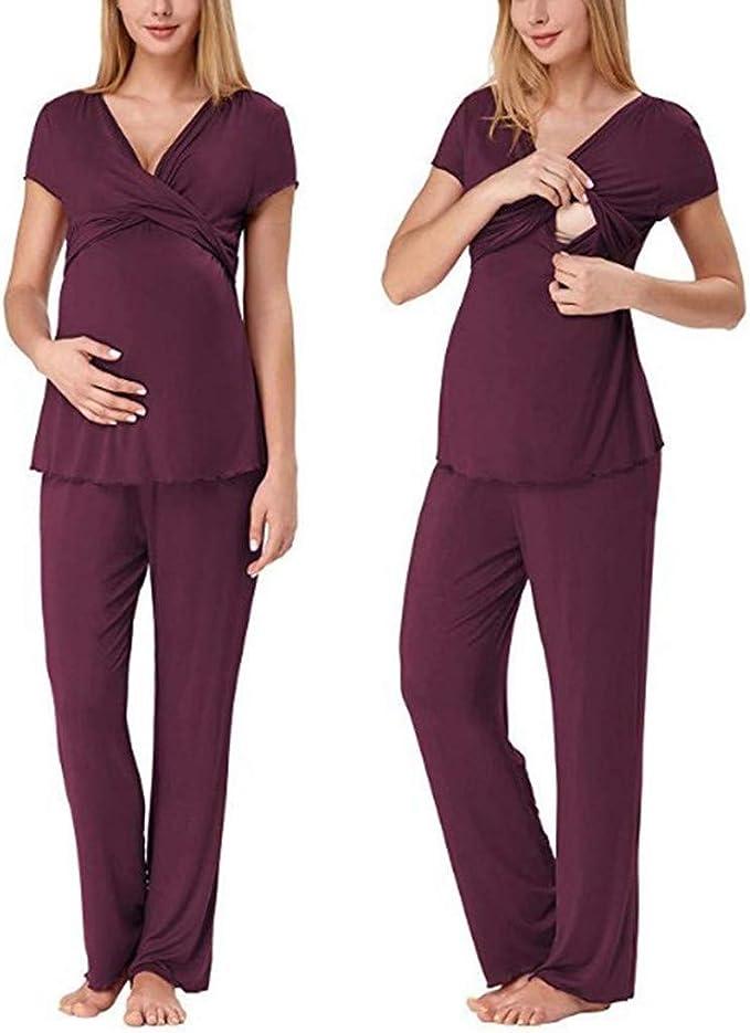 STRIR Pijama de Lactancia Mujer Embarazada Pijamas Algodón para ...