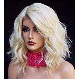 Cool2day New Fashion Lace Front Wig Women Short Platinum Blonde Wavy Lace Synthetic Hair Wigs