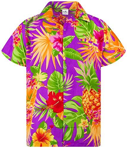 Funky Hawaiian Shirt, Shortsleeve, Pineapple, Purple, XS
