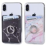 2Pack PU Adhesive Phone Pocket with Ring,Cell Phone Stick On Card Wallet Sleeve,Credit Cards/ID Card Holder Double Secure with 3M Sticker for Back of iPhone,Android Smartphones-PU Purple&Black Marble