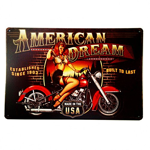 dingleiever DL-American Dream Motorcycle Pin Up Girl Sign Great Gift idea for The Motorcycle Fanatic!