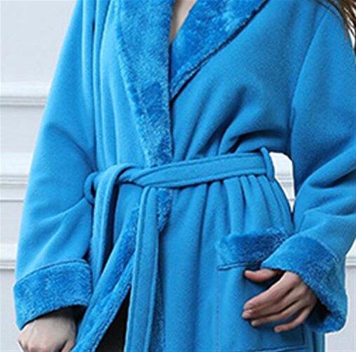 azul Franela L Artículos Terciopelo blue Huyizhi Camisón Pareja Espesada Albornoz Collar Tamaño blue De color Sky Baño cielo Bata Sky XAgTfqTw7