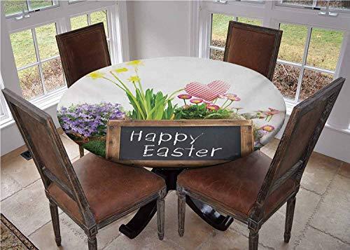 Mantel de mesa redonda con bordes elasticos, arreglo navideno con flores, huevos y pizarras sobre una mesa de madera, elementos rusticos para mesa de cafe, diametro de 178 cm