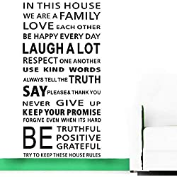 Large QuotesWallDecal InspirationalStickers Motivational Family Saying DecorativeNurseryArtKids Baby Home Letters Vinyl Peel & Stick Mural Art In This House We Are a Family Love (Large)