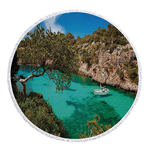 iPrint Thick Round Beach Towel Blanket,Nature,Small Yacht Floating in Sea Majorca Spain Rocky Hills Forest Trees Scenic View,Green Aqua Blue,Multi-Purpose Beach Throw by iPrint