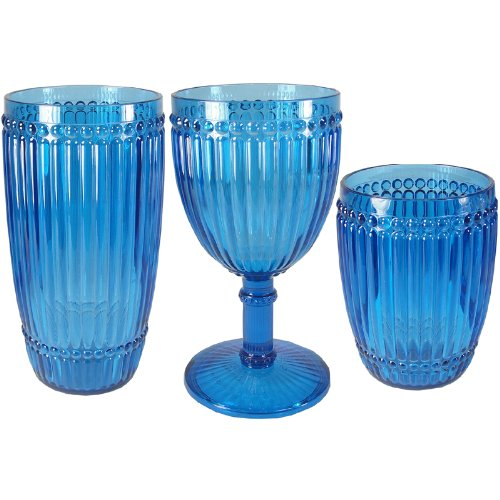 Milano Glassware - Le Cadeaux Milano 12 Piece Set Blue Shatter Proof Glassware