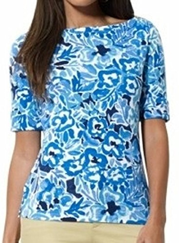 Three Quarter Sleeve Boatneck Top (Lauren Ralph Lauren Three-Quarter-Sleeve Boat-Neck Paisley-Print Top, Blue Multi, M)