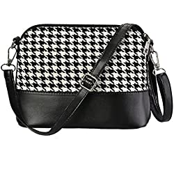 Fanala Women Hounds-tooth Plaid Flap Cross Body Bag