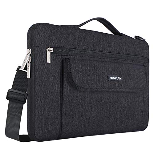 MOSISO 360° Protective Laptop Shoulder Bag Compatible 13-13.3 Inch MacBook Pro, MacBook Air, Notebook, Flapover Shockproof Messenger Telescopic Briefcase Carrying Handbag Sleeve Case, Black