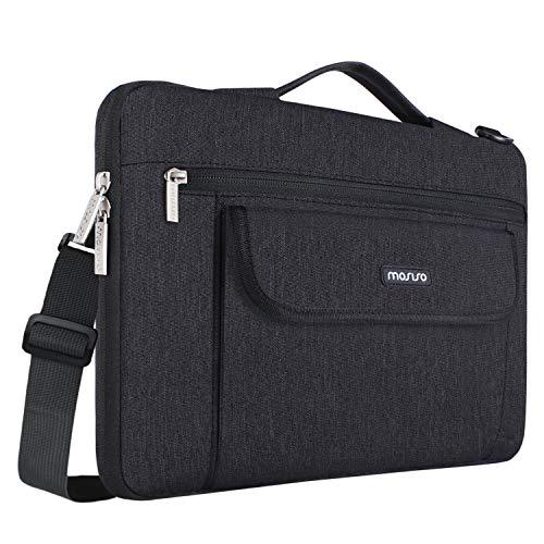 MOSISO 360° Protective Laptop Shoulder Bag Compatible 13-13.3 Inch MacBook Pro, MacBook Air, Notebook, Flapover Shockproof Messenger Telescopic Briefcase Carrying Handbag Sleeve Case, ()
