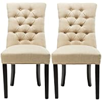 Chairus Diego Beige Fabric Tufted Upholstered Dining Chair with Nailed Trim, Set of 2