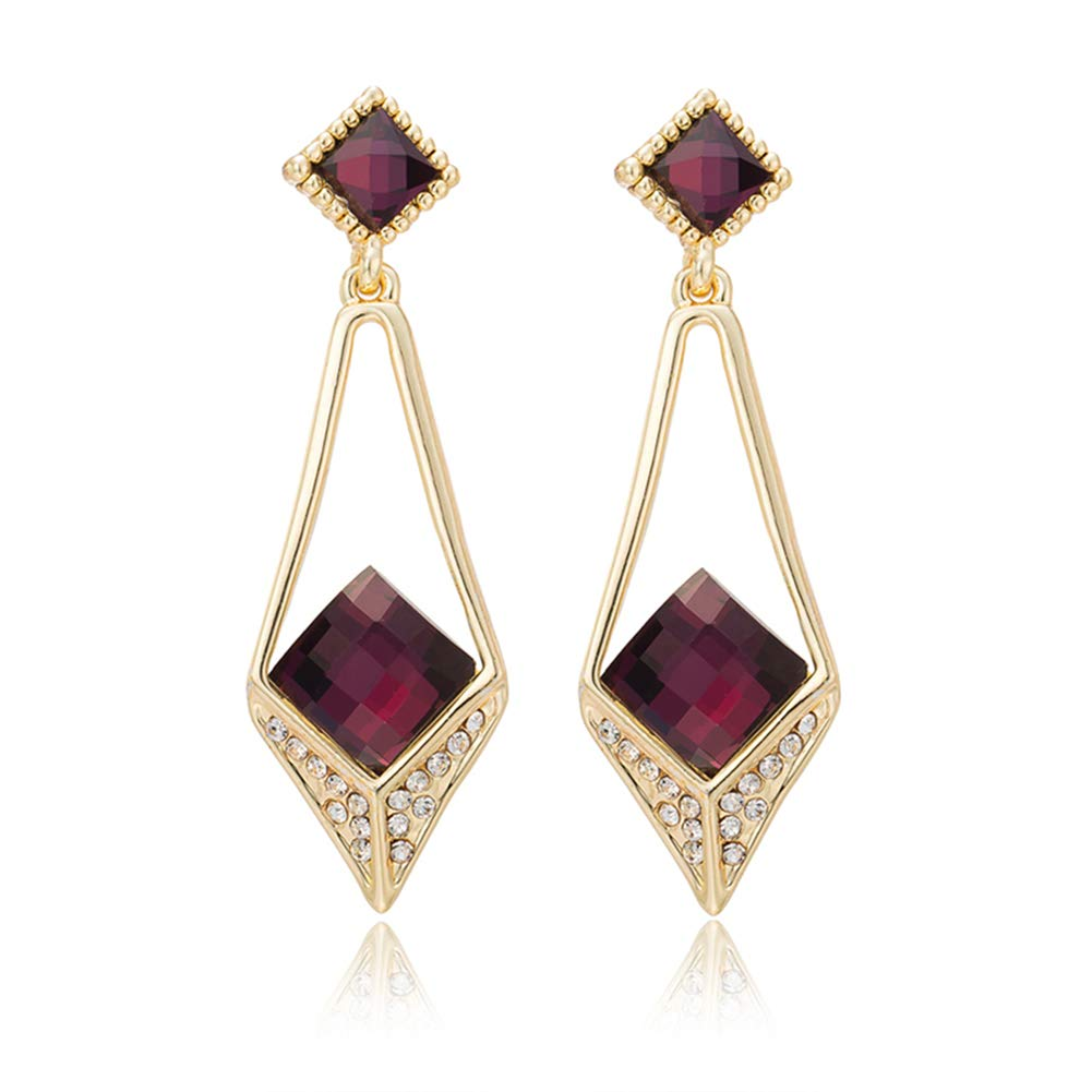 Cubic Zirconia Red Dangle Earrings For Women And Girls, 18K Gold Plated Earring, Birthday Christmas Gift PINKH